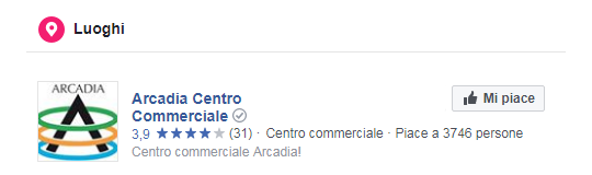 Pagina Facebook Centro Commerciale Arcadia - Luoghi