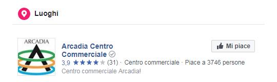 Pagina Facebook Centro Commerciale Arcadia - Luoghi